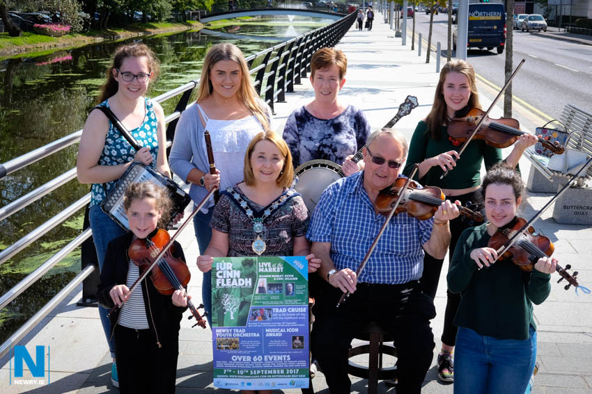 Cllr Roisin Mulgrew, Chairperson, Newry, Mourne and Down Council pictured with some of the musicians taking part in this weeks Iúr Cinn Fleadh.