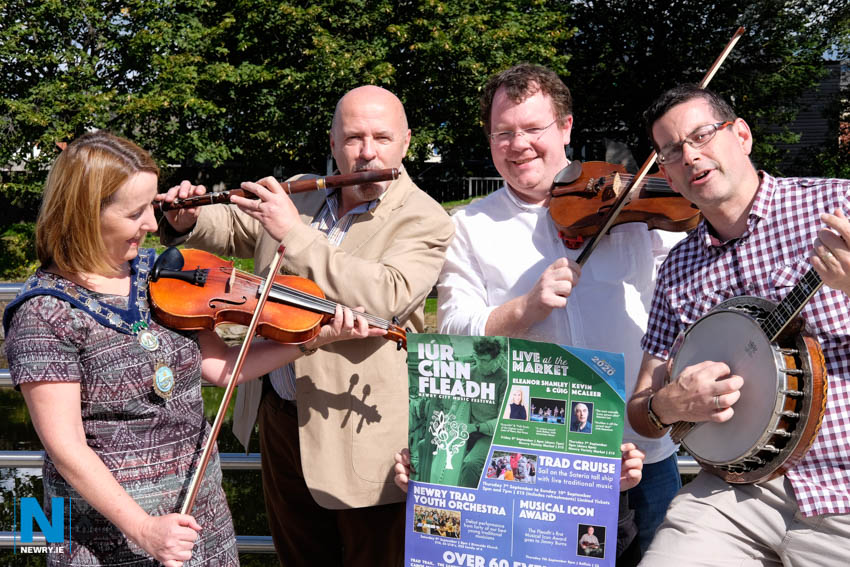 Cllr Roisin Mulgrew, Chairperson, Newry, Mourne and Down Council pictured with Iúr Cinn Fleadh Committee Members Jim McGrath, Neil Bradley and Columba O'Hare.