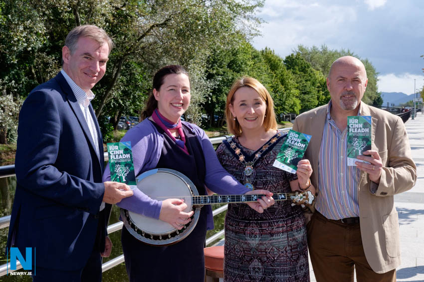 Iúr Cinn Fleadh sponsors pictured with Fleadh committee member Jim McGrath, right at the launch of the 2017 Iúr Cinn Fleadh . The Fleadh runs from Thursday 7 to Sunday 10 September with over 60 events throughout Newry City. From left: Eamon Connolly, Newry BID; Orla Hayes, Canal Court Hotel and Cllr Roisin Mulgrew, Chairperson, Newry, Mourne and Down Council.  Get tickets for  Kevin McAleer, Eleanor Shanley and Cuig, Musical Icon Award, Trad Orchestra launch and the Trad Cruise on board tall ship Soteria from the Buttercrane Help Desk or via www.iurcinnfleadh.com Photograph: Columba O'Hare