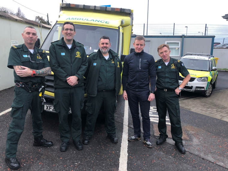 Justin McNulty, MLA meets local ambulance workers after their Christmas spell.