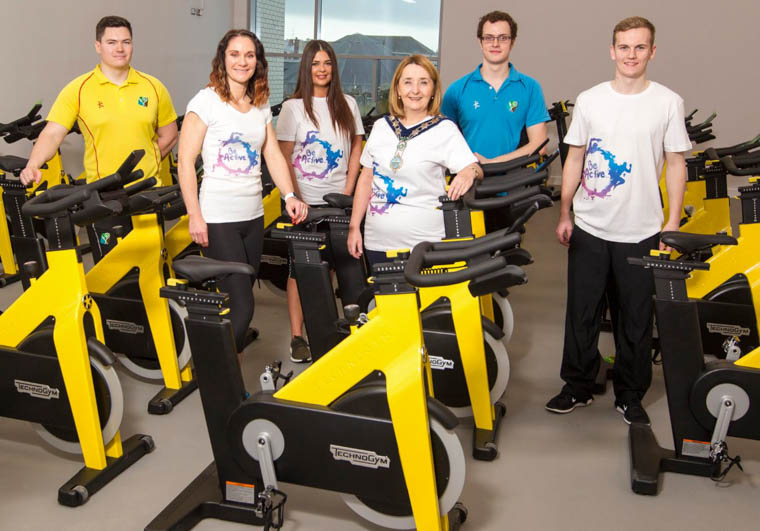 Newry, Mourne and Down District Council Chairperson Councillor Roisin Mulgrew is pictured with staff members Matthew Topley, Kerri McConnell, Rebecca Carville, Conor Fabb and Ross Doyle at Newry Leisure Centres new 'Technogym' spinning equipment opening early November 2017.