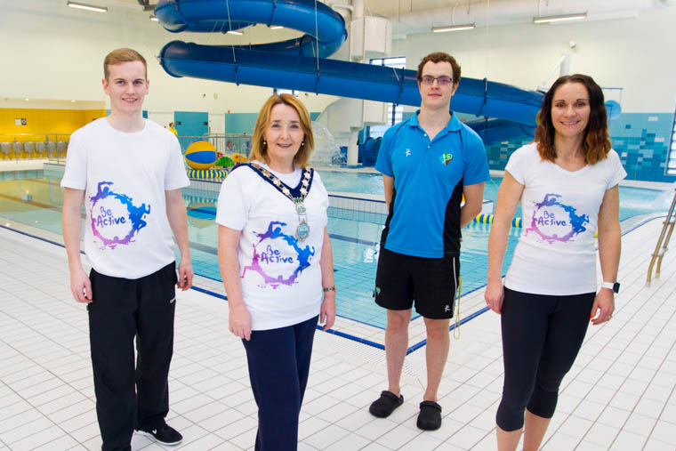 Newry, Mourne and Down District Council Chairperson Councillor Roisin Mulgrew is pictured with staff members Ross Day, Conor Fabb and Kerri McConnell at Newry Leisure Centre swimming pool.