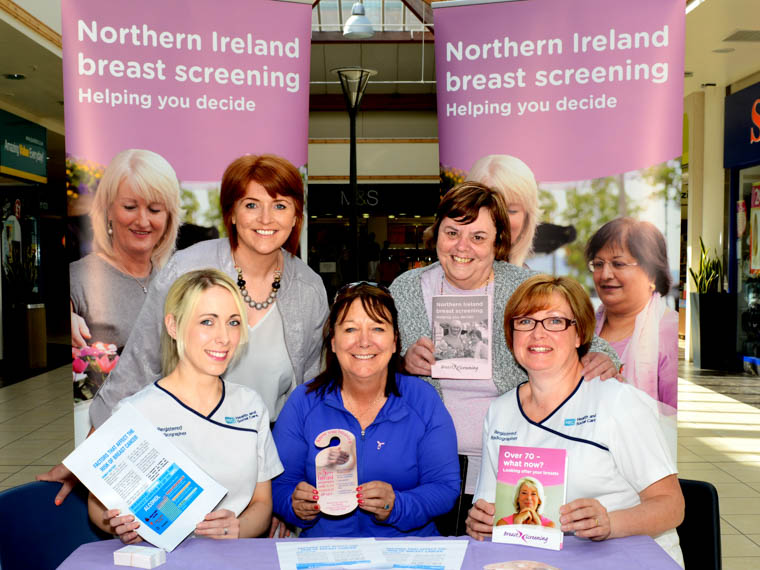 Christine Robinson, Radiographer, Sinead Hughes, Promoting Wellbeing Specialist Lead and Sandra Murray, Radiographer – all Southern Health and Social Care Trust are urging women throughout the area to attend for their breast screening appointments. Here they are pictured with Patricia McDonnell and Kathleen Pepper during an information event at Buttercrane Shopping Centre, Newry.