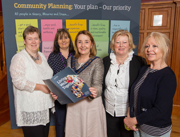 Newry, Mourne and Down District Council Chairperson, Councillor Roisin Mulgrew (centre) with representatives of the three charities the Council will be supporting throughout her term as Chairperson and whose work supports many of the themes of the Community Plan. L-R: Elaine Fogarty, Mental Health Forum, Therese Gorman, Women's Aid and Caroline Cleary and Geraldine Dean from Davinia's Ark.