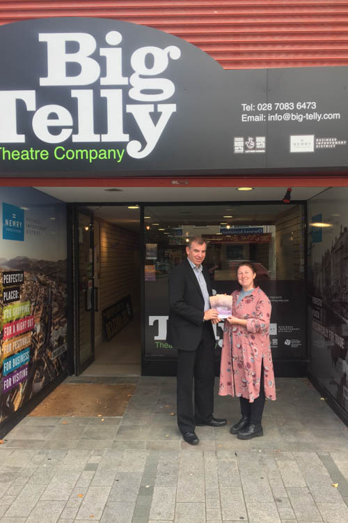 Eamonn Connolly, Newry BID and Christina Nelson, Creative Director, Big Telly Theatre Company outside the  Creative Shop.