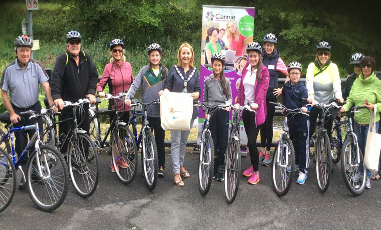 Cycle for Health group led by Mrs Claire Convery, Everybody Active 2020 Coach with Clanrye Group Ltd and Newry, Mourne and Down District Council Chairperson, Councillor Roisin Mulgrew.