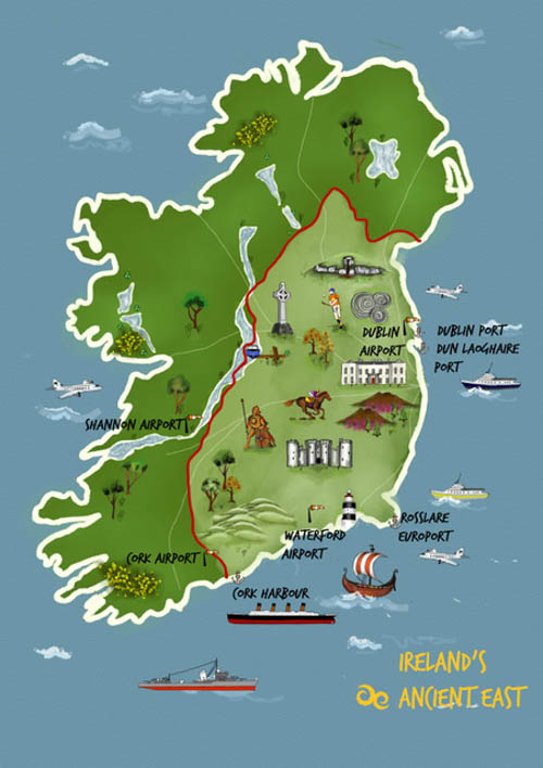 Ireland's Ancient East highlighted on the map of Ireland.