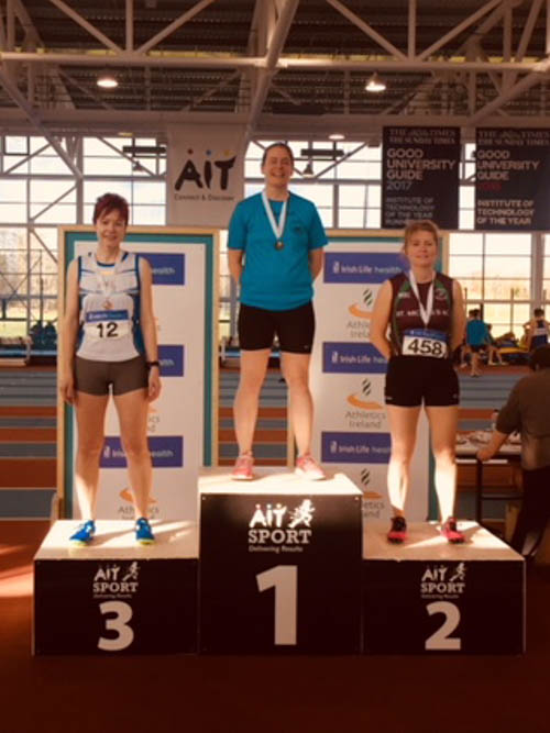 Newry AC's Joanne McCauley on the left in third spot at Athlone.