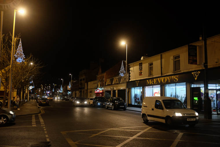 Christmas lights in Monaghan Street in Newry. Photograph: Columba O'Hare