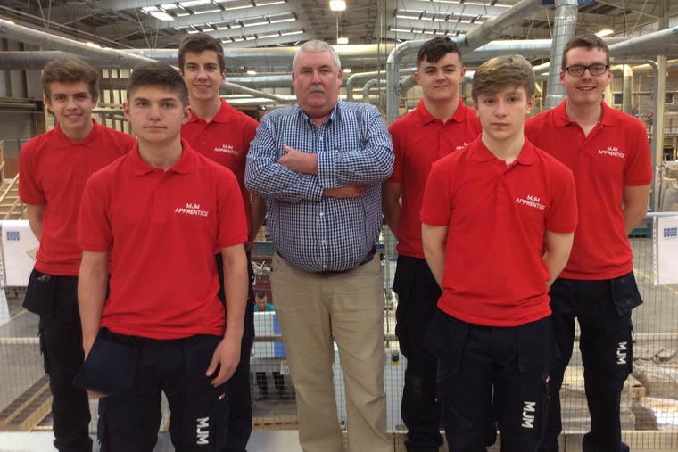 John Fisher, MJM Group Apprentice Programme Manager with 2017 MJM Group Apprentices, from left: Niall Casey, Marco Gilbert, Scott Dale, Brendan Devlin, Adam Harte and Philip Newell.