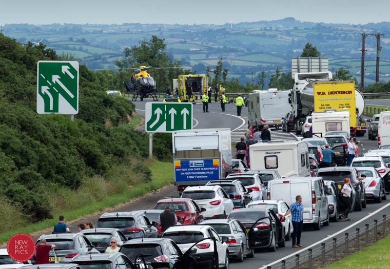 The scene on the A1 where a road traffic incident left a motorcyclist seriously injured. Photograph: NewRayPics