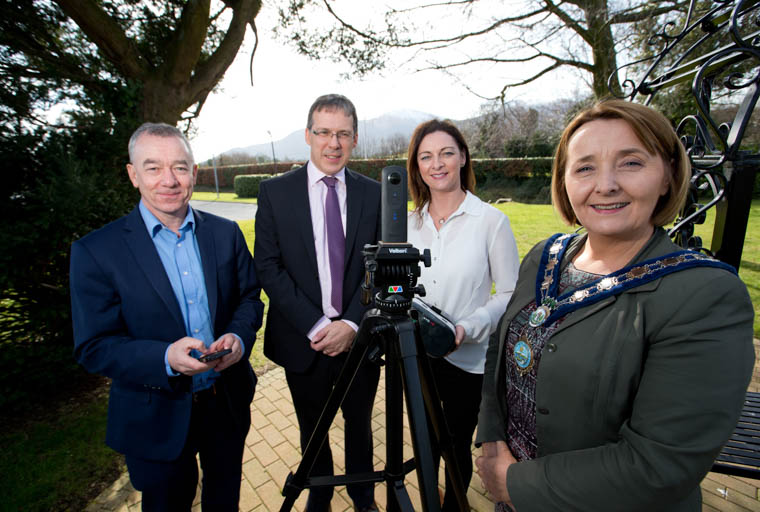 Newry, Mourne and Down District Council Chairperson, Councillor Roisin Mulgrew with Paul Walsh, Downpatrick Campus Manager, South Eastern Regional College,Tracy Rice, Business Development Manager, Southern Regional College and Kieran Swail, Tourism and Innovation Specialist, Southern Regional College.