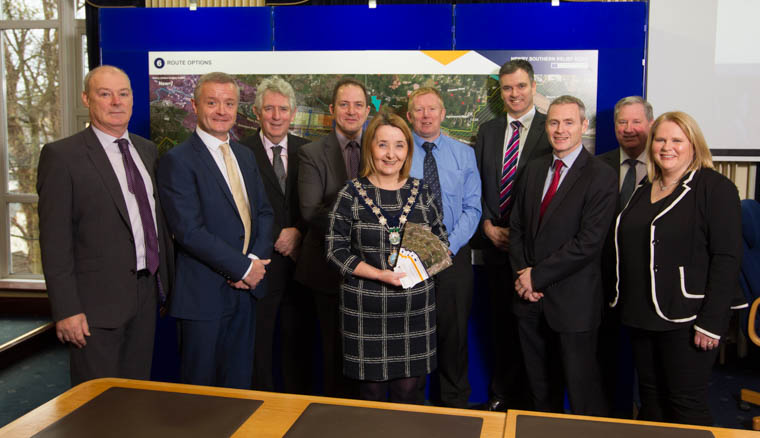 Newry, Mourne and Down District Council Chairperson, Councillor Roisin Mulgrew, Mr Liam Hannay, Chief Executive, Ms Marie Ward, Director of Eenterprise, Regeneration and Tourism Chairperson of Council,  along with representatives from DFI and Aecom Consultants