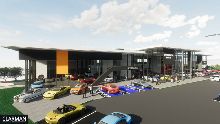 An artists impression of the new Newry Shelbourne Motors complex.