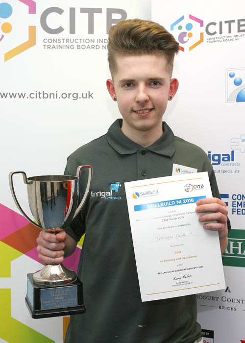 Jordan Hughes from Bessbrook received a gold medal in Painting and Decorating  at Skillbuild NI