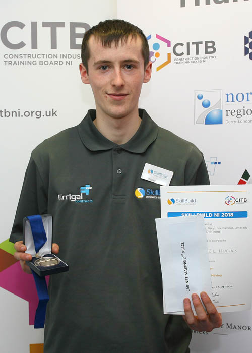 Michael Hughes from Lislea received a silver medal in Cabinet Making at Skillbuild