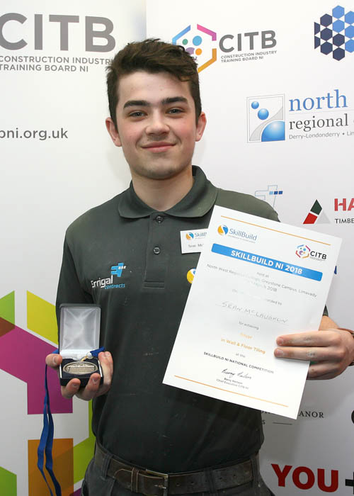 Sean McLaughlin, Newry received a silver medals in Wall and Floor Tiling at Skillbuild NI.