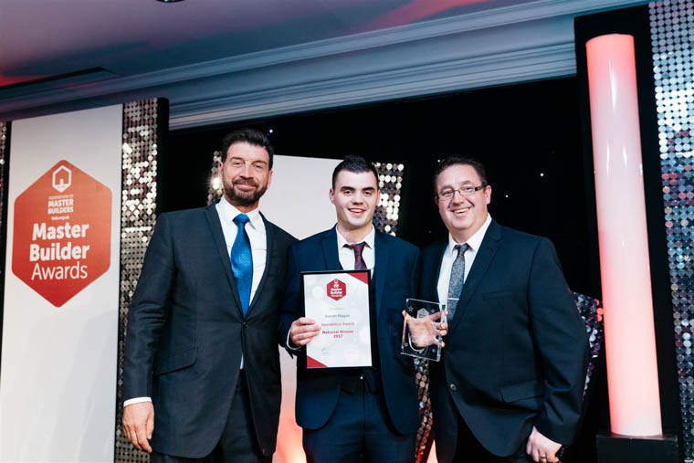 Nick Knowles Awards Presenter, Kieran Magee UK Apprentice of the Year and Adrian Feeney from TradePoint who were sponsors of the Apprentice Award.