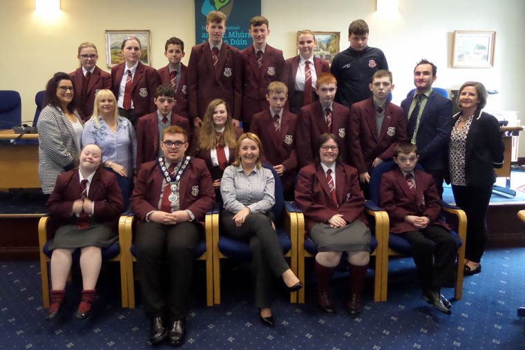 Newry, Mourne and Down District Council Chairperson, Councillor Roisin Mulgrew welcomes students from St Paul's High School, Bessbrook to the Council Offices, Newry.