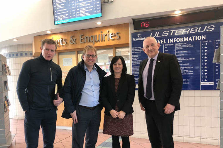 Discussing the Dublin Airport route were from left:  Justin McNulty MLA, Councillor Gary Stokes, Michelle Rafferty (Rural Transport Development Manager, Translink) and Arthur Hamilton (Southern Area Manager, Translink)