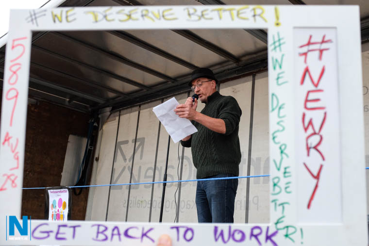 Singer songwriter, Finbar Magee reads out his poem Stormont is Dormant at the We Deserve Better protest in Newry. Photograph: Columba O'Hare/ Newry.ie