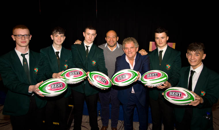 Rory Best with pupils from St Joseph's Boys' school who attended today event as Media students.