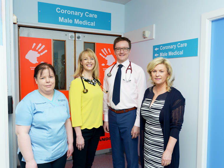 Daisy Hill Hospital's Cardiology Team Staff Nurse Fiona Callan, Consultant Cardiologists, Dr Patricia Campbell and Dr Artur Mlodzianowski and Head of Service Kay Carroll.