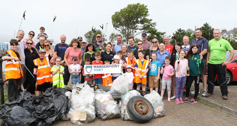 Sixty volunteers from Warrenpoint Port, including staff, customers and their family and friends, collected more than 25 bags of rubbish from beaches between Narrow Water and Cole's Corner in Warrenpoint during a clean-up of the area's beaches.
