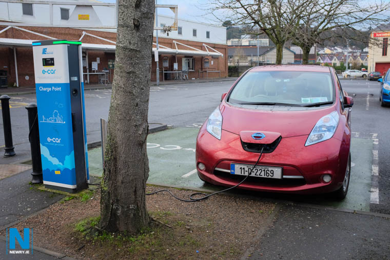 An Electric Car charging at an E-Car Space in Monaghan Street, Newry. Photograph: Columba O'Hare/ Newry.ie