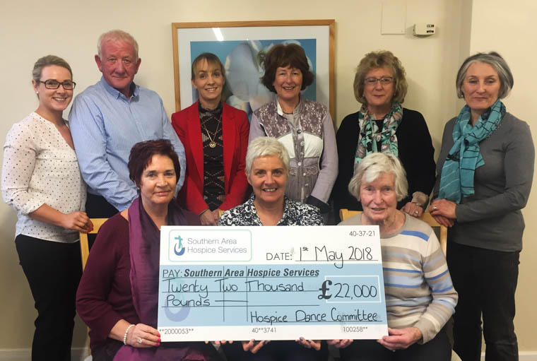 Pictured are some of the Dance Committee members handing over a cheque to Liz Cuddy, CEO Southern Area Hospice.  Photographed from left to right: B/R - Grainne Mulgrew, Southern Area Hospice, David Buchanan, Lisa Mulkerns, Maura Cranley, Mairead McLoughlin, Patricia Freeman F/R – Geraldine Loughran, Chairperson of the Dance Committee, Liz Cuddy, CEO Southern Area Hospice and Irene Holland.