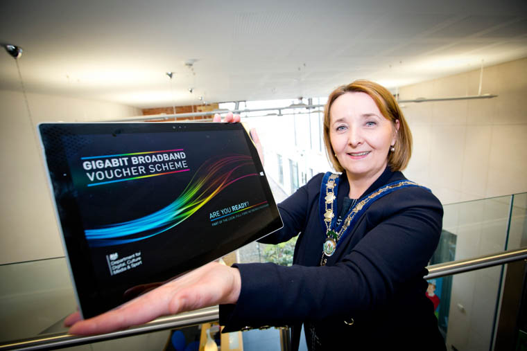 Cllr Roisin Mulgrew, Chairperson, Newry, Mourne and Down District Council announces the Faster Broadband Scheme.