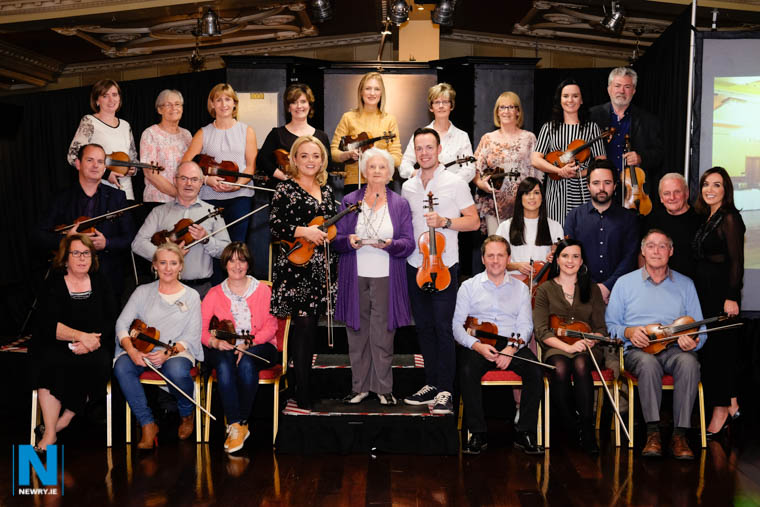 Just some of the musicians with Josephine Keegan who received her Musical Icon Award at last weeks Iúr Cinn Fleadh. Photograph: Columba O'Hare/ Newry.ie