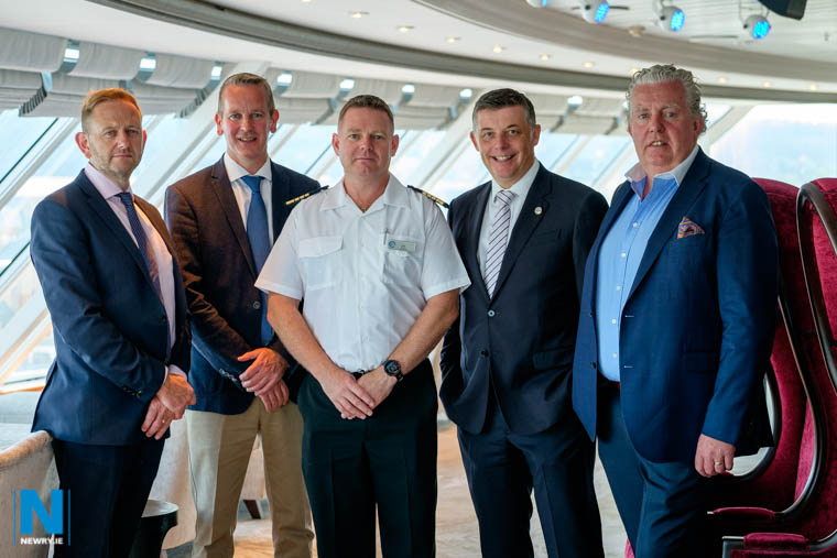 On board Azamara Pursuit were from left Gary Annett, CEO, MJM Group; Jonathan Guest, CEO, Harland and Wolff; Captain Carl Smith, Azamara Pursuit; Richard Twynam, MD, UK and Ireland, Azamara Club Cruises and Brian McConville, Founder, MJM. Photograph: Columba O'Hare/ Newry.ie