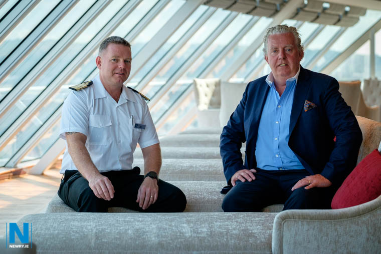 Captain Carl Smith, Azamara Pursuit with Brian McConville, founder, MJM Group. Photograph: Columba O'Hare/ Newry.ie