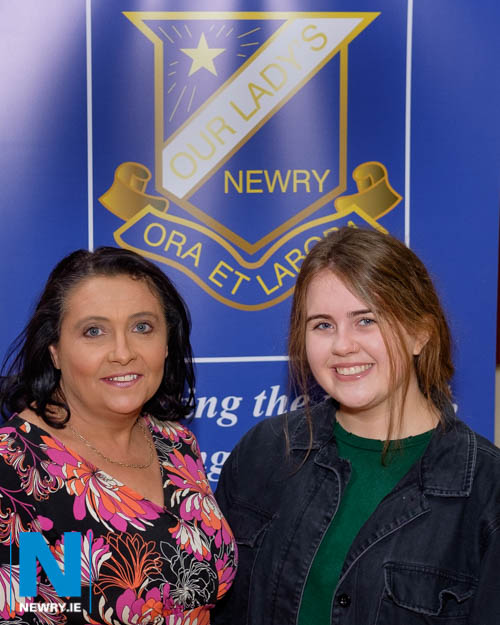 Our Lady's Principal, Mrs Fiona McAlinden is pictured with Head Girl, Aoife Hollywood.