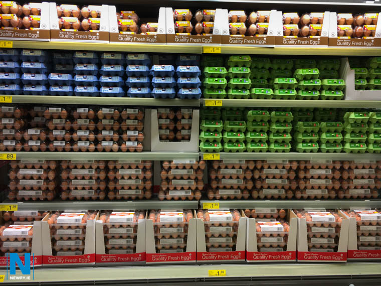 Traditional egg cartons are in short supply in this Dunnes Stores Display in Monaghan Street, Newry. Photograph: Columba O'Hare/ Newry.ie