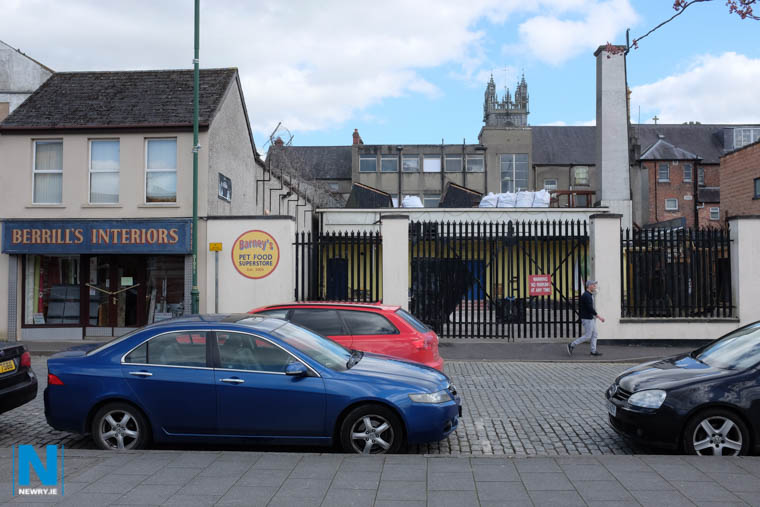 The site facing The Mall in Newry where it's proposed to build apartments. Photograph: Columba O'Hare/ Newry.ie