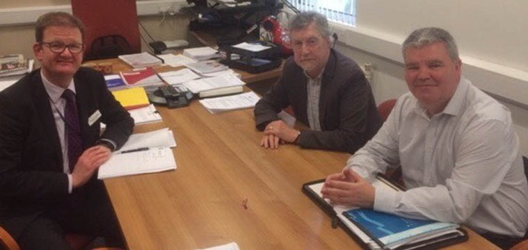 Mickey Brady MP and Cathal Boylan MLA meet with Shane Devlin Chief Executive Southern Health Trust
