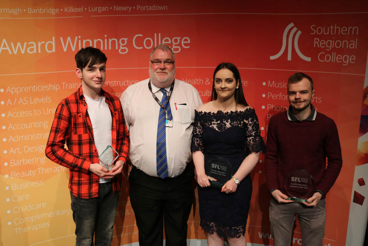 Brian Woods (Newry) Personal Achievement award winner, Silvana-Cassandra Vale (Portadown) Full time award winner and Will Parks (Portadown) Part time award winner pictured with Michael O'Neill, SRC Head of School of Creative Design and Computing.
