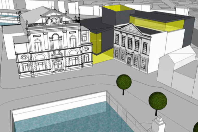 Proposed plans connecting Newry Town Hall and Sean Hollywood Arts Centre