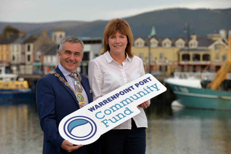 Launching the Warrenpoint Port Community Fund, a new initiative to provide a financial boost to local community projects, Warrenpoint Port CEO Clare Guinness is joined by Cllr Mark Murnin, Chairman of Newry, Mourne and Down District Council.