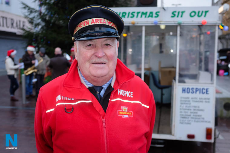 John Dalzell in his familiar coat is once more preparing to get his fundraising team together for their annual Hospice Sit Out in Hill Street in Newry. Photograph: Columba O'Hare/ Newry.ie
