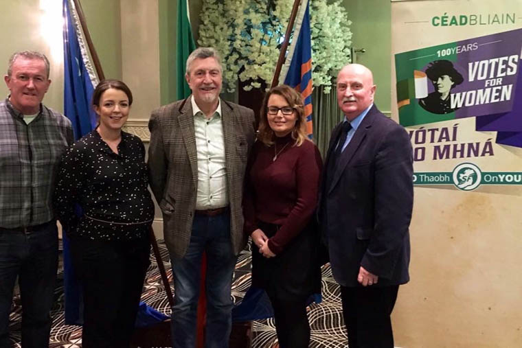 Conor Murphy MLA and Mickey Brady MP pictured  with Cllr Liz Kimmins , Cllr Charlie Casey and Sarah Jane McAllister