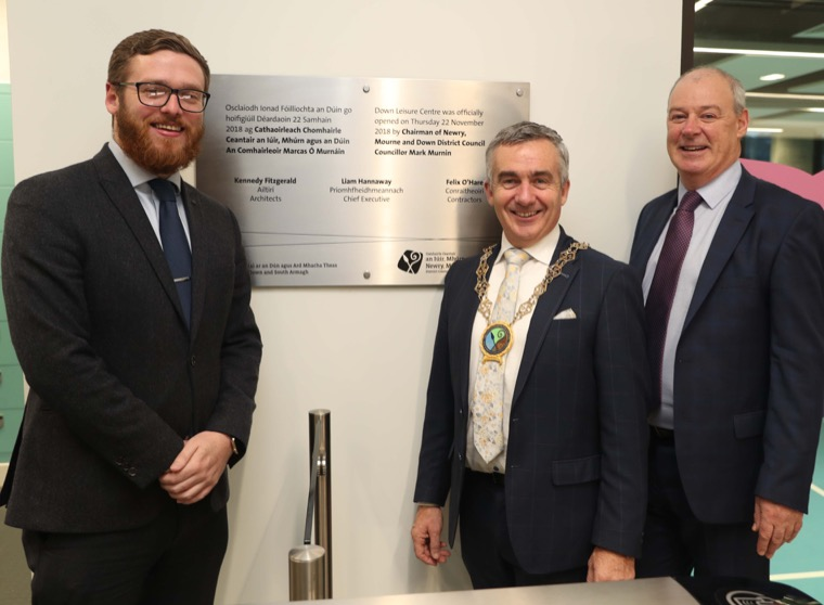 Newry, Mourne and Down District Council's Chair of the Active and Healthy Communities Committee, Councillor Gareth Sharvin, NMDDC Chairman, Councillor Mark Murnin and NMDDC Chief Executive Liam Hannaway at the official opening of Down Leisure Centre.
