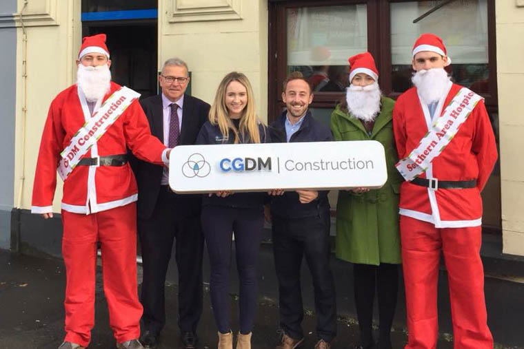 Getting ready for the 2018 Santa Run are from left Paul O'Neill CDGM, Colm Shannon CEO Newry Chamber of Commerce, Emma McAlinden CDGM, James McCaffrey Southern Area Hospice, Jessica Kane Newry Chamber of Commerce, Neil Byrne CDGM