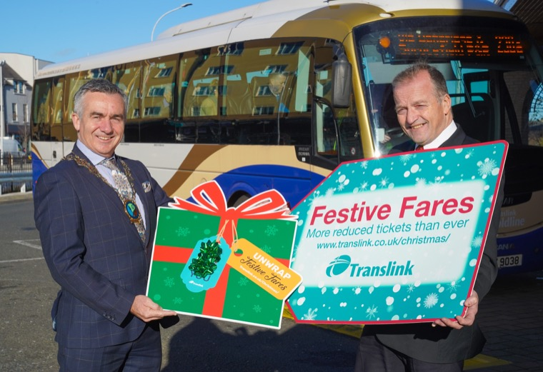 Councillor Mark Murnin and Translink's Greg McLaughlin launch the festive offerings from Newry.