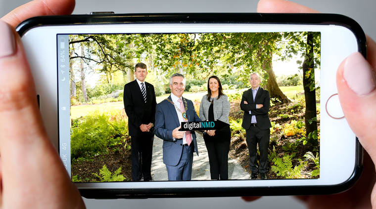 Paul Kelly, Committee Member and Treasurer of BCS Northern Ireland, The Chartered Institute for IT; Chairperson of Newry, Mourne and Down District Council, Cllr. Mark Murnin; Emma Finney, Innovation Manager, South Eastern Regional College and Kieran Swail, Tourism Innovation Specialist, Southern Regional College pictured at the launch of the DigitalNMD 'Exploring Augmented Reality for the Hospitality & Tourism Industry' event at Montalto Estate.