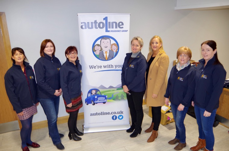 Denise Curtis (Personal Lines Manager at Autoline) announced  that Autoline would be providing 24hour breakdown support for on duty Life and Time staff. In the photograph (L-R) Linda O'Hare, Marie McConville, Dympna Devlin, Connie Connolly (Nurse Manager Life and Time), Denise Curtis, Deirdre Morgan, Glenda Hughes and Paul Mc Keever.
