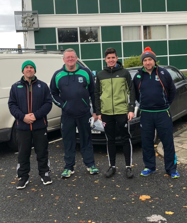 Shane O'Neill's coaches Damian Beattie, Peter Lynch, Stephen Mooney and Cathal Evans at the Steven Poacher coaching class on Saturday