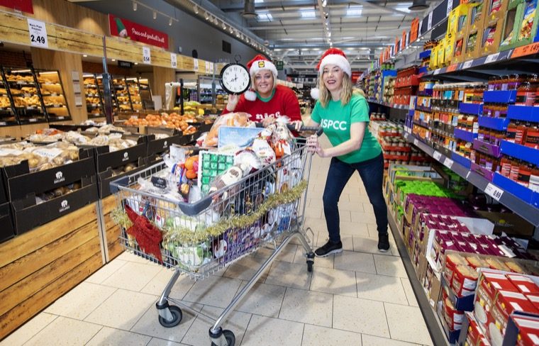Joanne McMaster, NSPCC Fundraiser and Angela Connan, Lidl Northern Ireland's Corporate Social Responsibility Manager, launching the Lidl Trolley Dash 2018